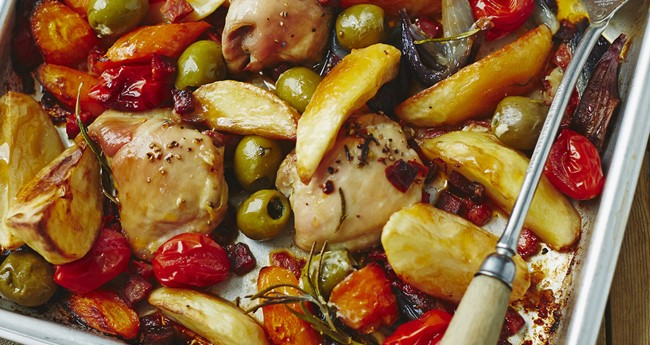 One pan Mediterranean roast chicken recipe by Jo Pratt