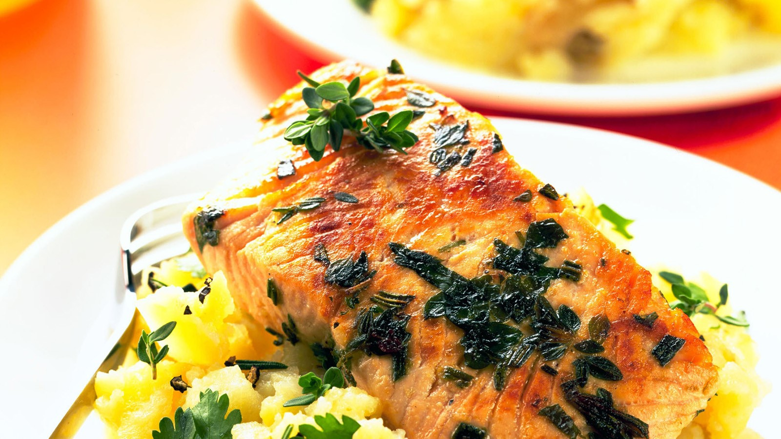 Crushed New Potatoes with Pan-Fried Lime Salmon Steaks