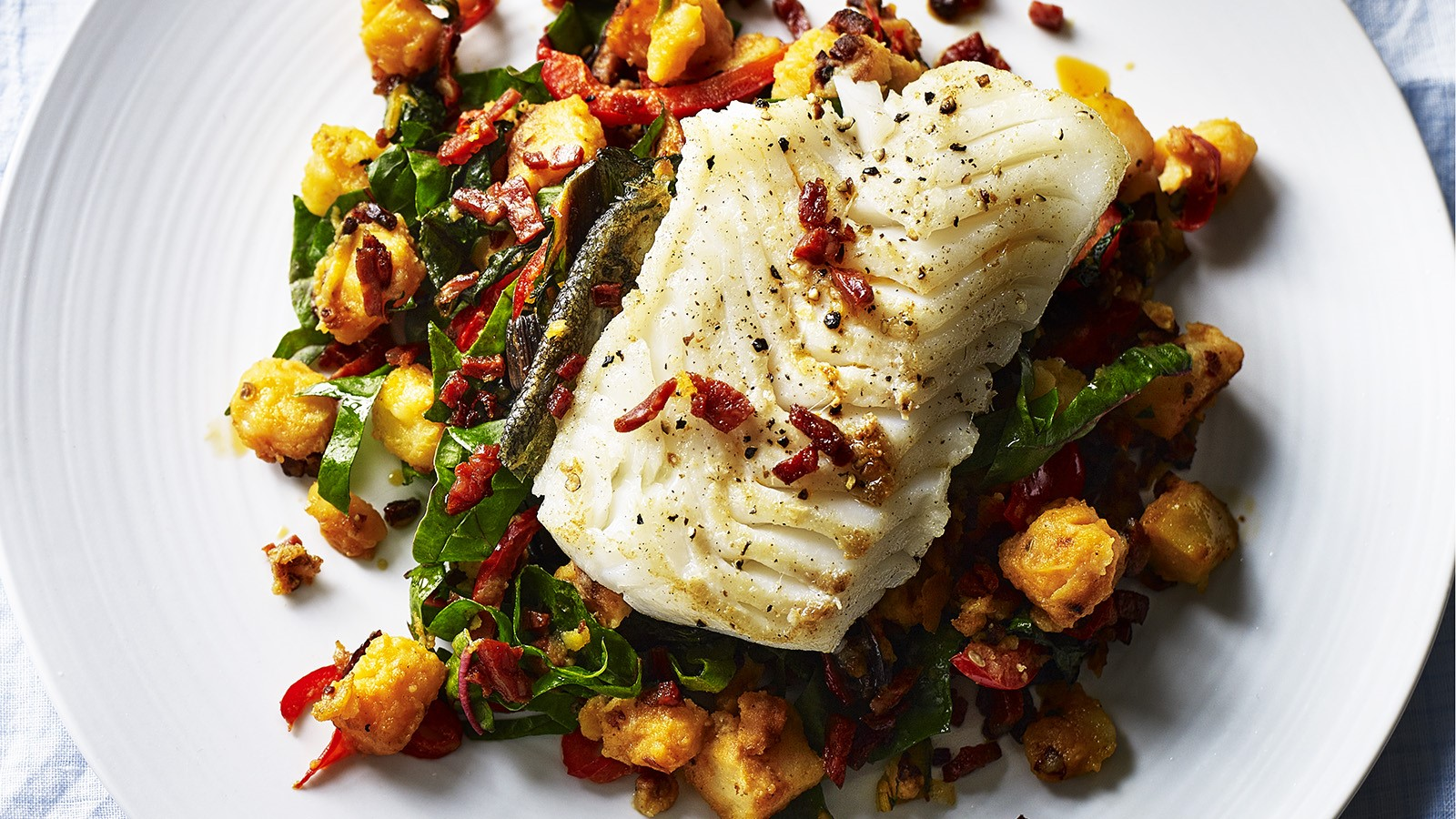 Pan Seared Cod with Potatoes and Chorizo