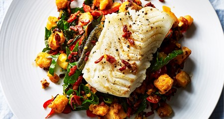 Pan seared cod with potatoes and chorizo recipe