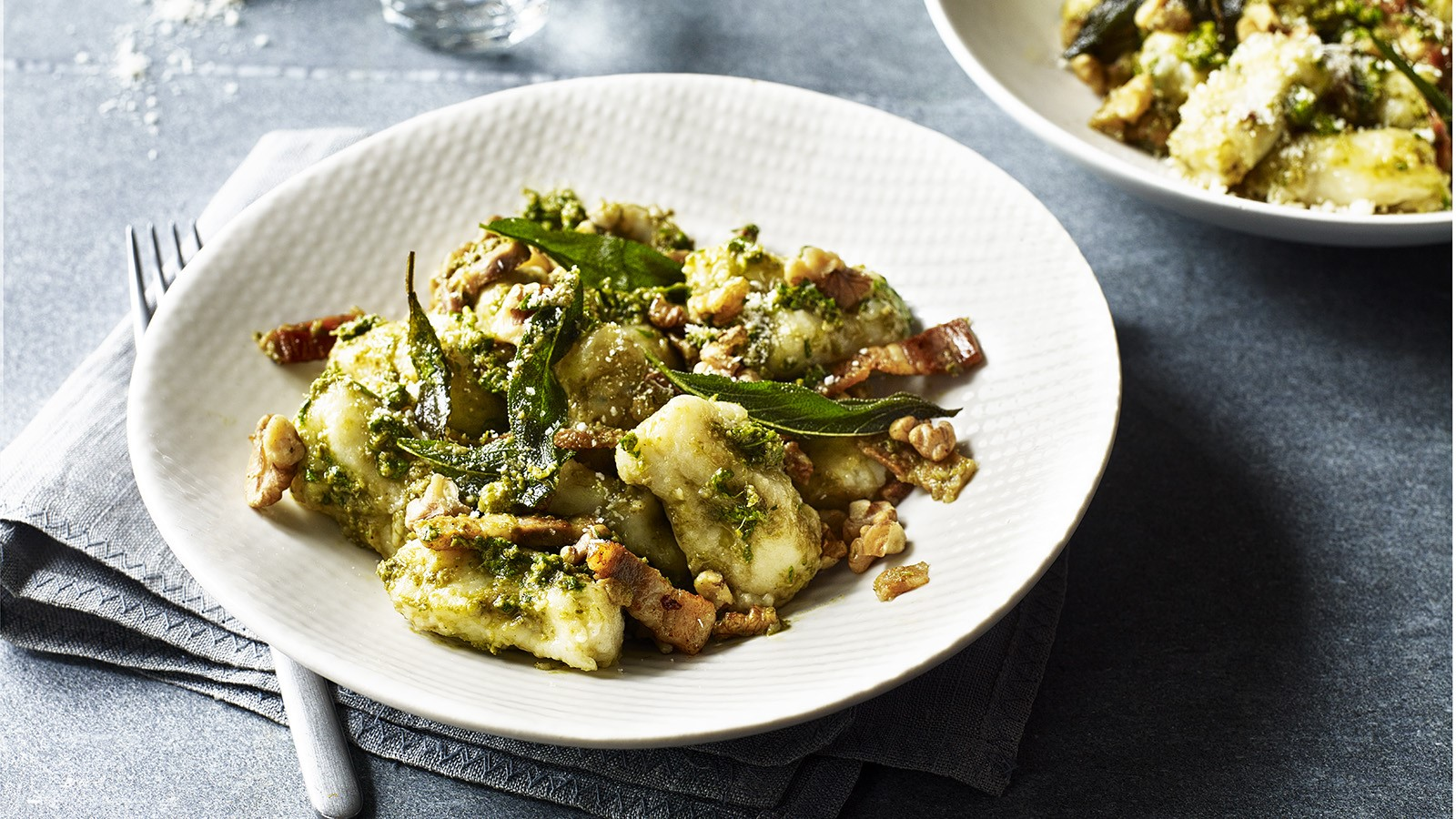 Potato and Sage Gnocchi with pesto