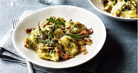 Potato and sage gnocchi with pesto recipe