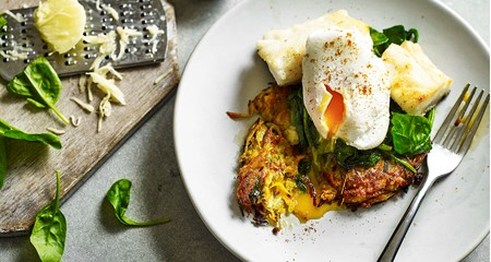 Indian spiced potato rosti, haddock and poached egg stack recipe