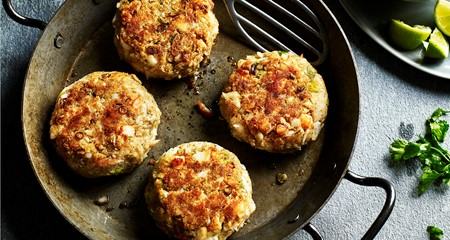 Jamaican jerk haddock and prawn potato cakes recipe