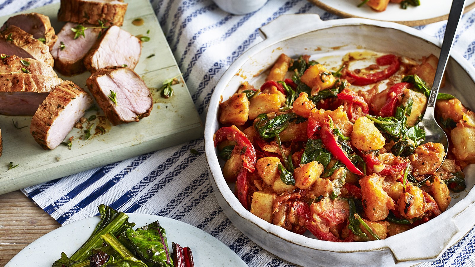 Spanish Flamenco potatoes with pork roast