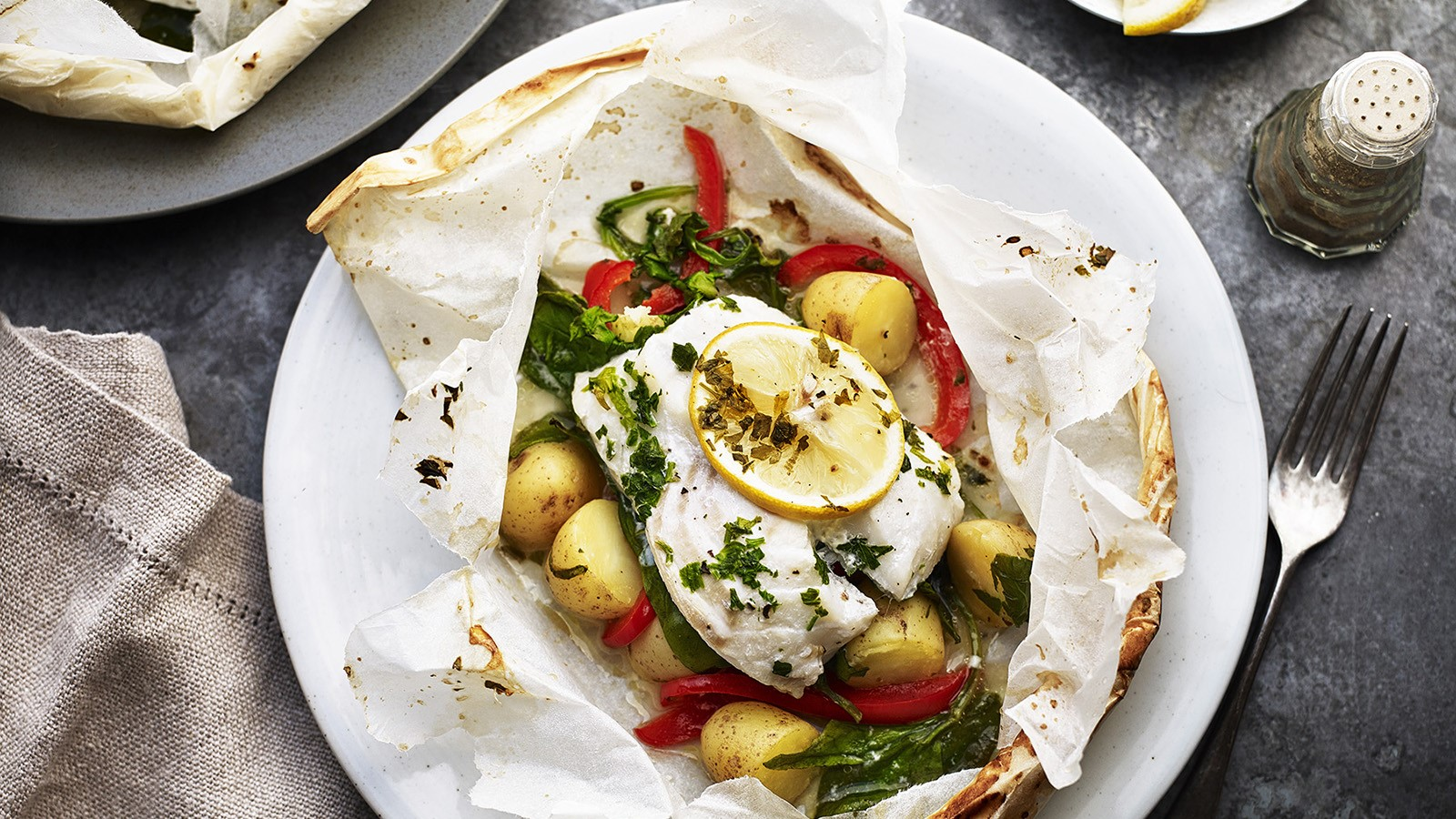 New Potatoes and Cod En Papillote