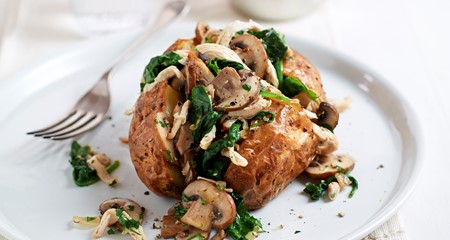 Chicken, spinach and mushroom jacket recipe