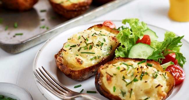 Twice baked sour cream and chive jacket potatoes recipe