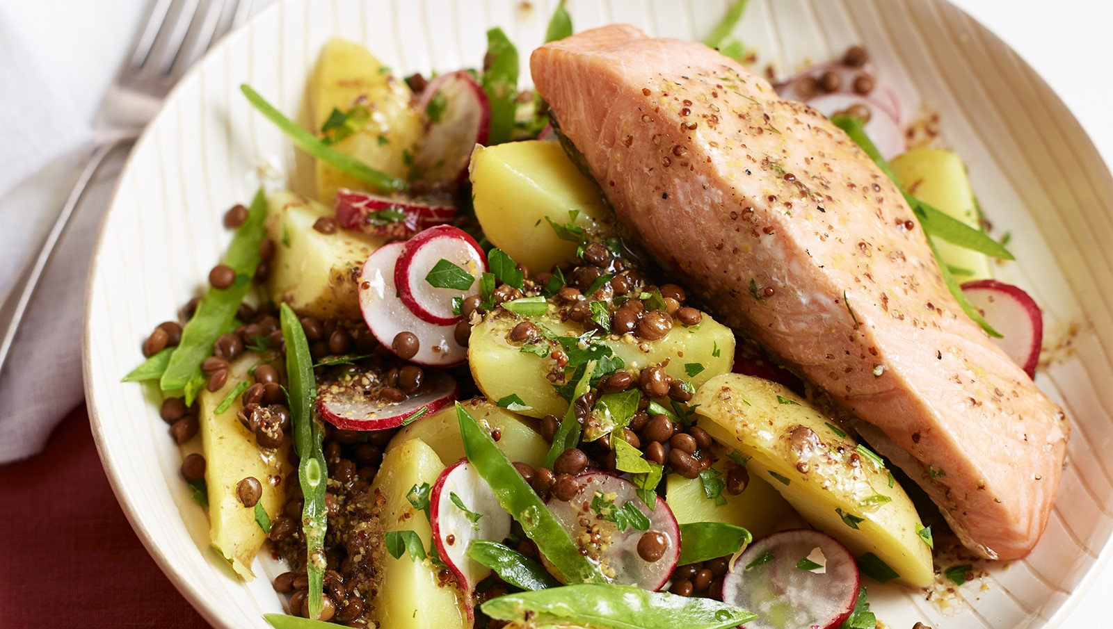 Potato, Lentil and Mangetout Salad with Grilled Salmon