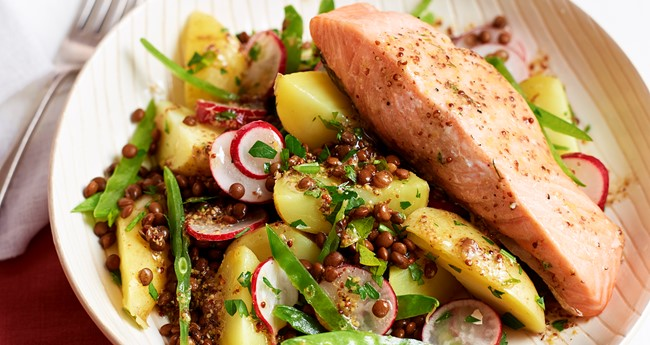 Potato, lentil and mange tout salad with grilled salmon recipe
