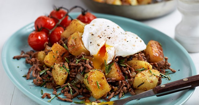 Potato and beef mince hash recipe