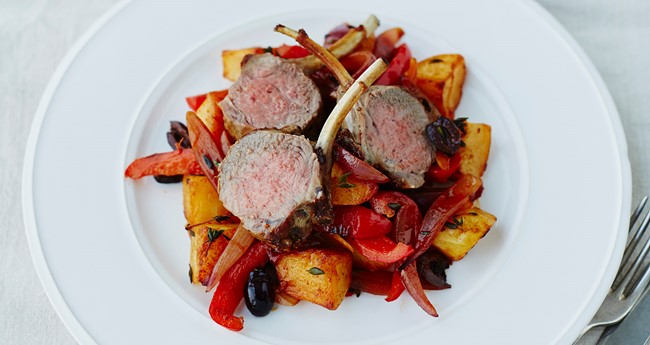Alex Mackay's roast King Edwards with lamb cutlets, smoked paprika, peppers, onions & olives recipe