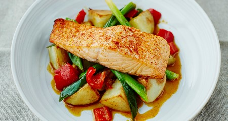 Alex Mackay's roast salmon & King Edward potatoes with sweet & sour relish recipe