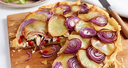 Potato, red onion & chicken gallete pie recipe