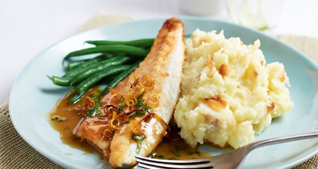 Sea bream and roasted garlic mash recipe