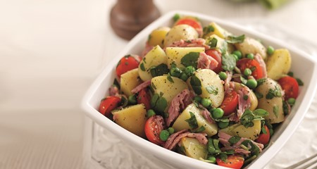Potato salad with watercress, peas & ham recipe