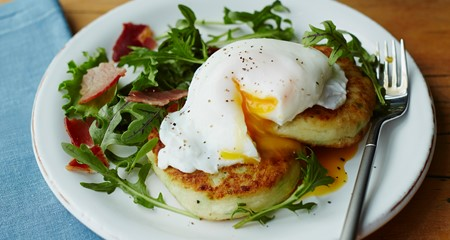 Jo Pratt's Champ Cakes with Poached Egg & Bacon Recipe