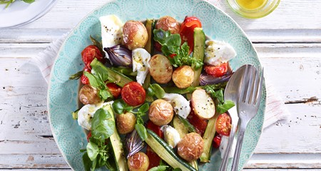 Mozzarella, Plum Tomato and Roasties Salad Recipe
