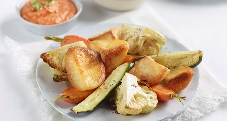 Roasties and Vegetables with Red Pepper Dip Recipe