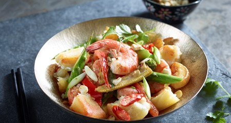 Crushed Roasties with Coconut Prawns Recipe