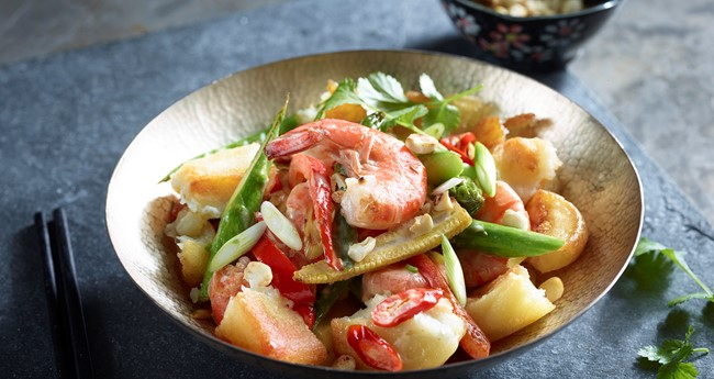 Crushed Roast Potatoes with Coconut Prawns Recipe