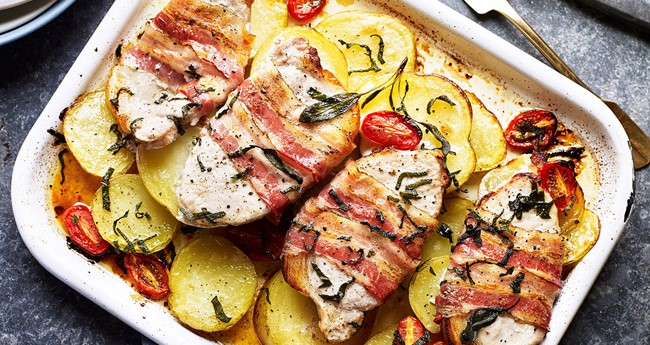 Tuscan Potatoes with Pork Loin Steaks and Pancetta Recipe