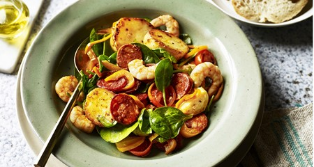 Spanish Style Potato, Prawn and Chorizo Salad Recipe
