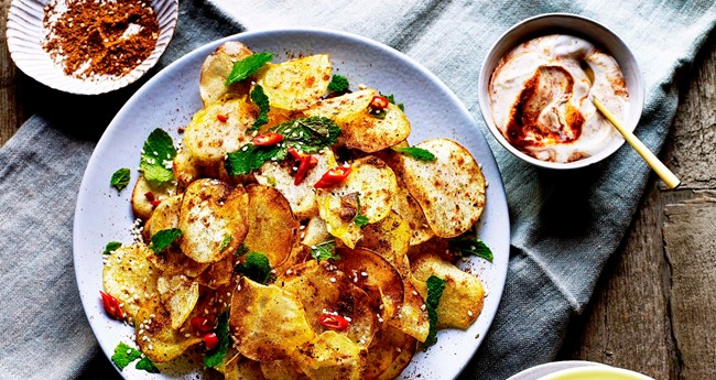 Moroccan-spiced Baked Potato Crisps with Rose Harissa Dip Recipe
