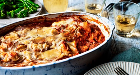 Pulled Pork & Tomato Layered Potato Bake