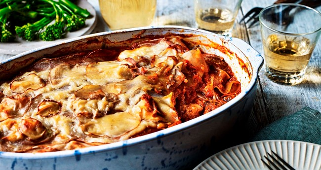 Pulled Pork and Tomato Layered Potato Bake