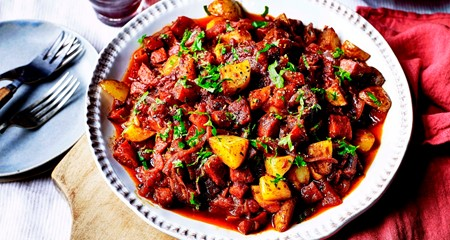 Patatas Bravas with Chorizo in Red Wine Sauce