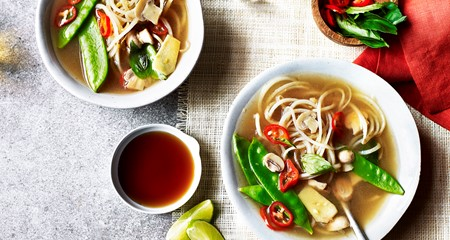 Vegetarian Thai potato noodle cleansing broth with basil and lemongrass