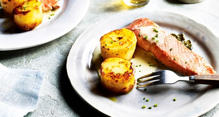 Fondant Potato with Poached Salmon and easy Beurre Blanc