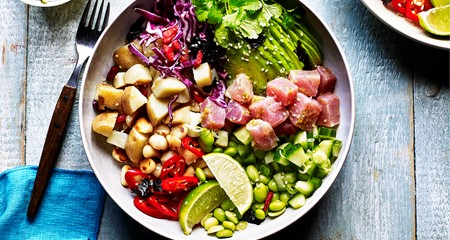 Tuna, Edamame, Potato and Macadamia Poke Buddha Bowl