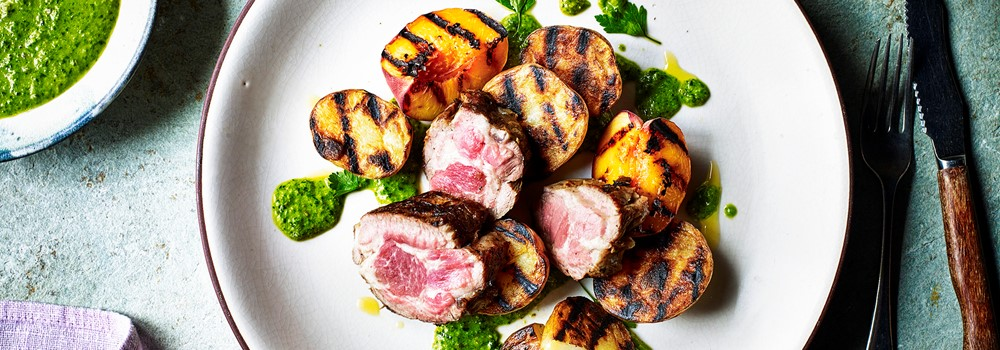 Charred potato, grilled peach and sliced lamb with parsley dressing
