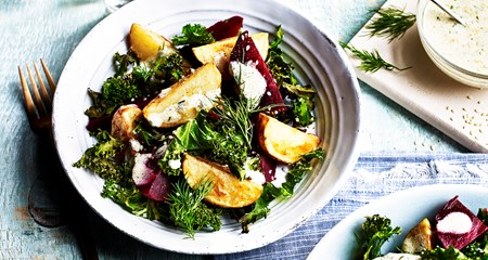 Roast new potato, kale, beetroot and dill salad with toasted sesame seed dressing