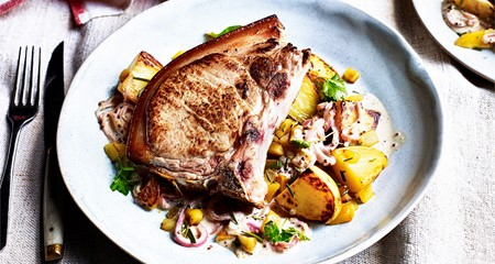 Creamy Cider Pork Chops with Sautéed Rosemary Potatoes