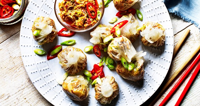 Quick Pork and Potato dumplings with Korean kimchi