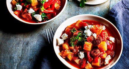 Roasted Red Pepper, potato, chorizo and kale stew