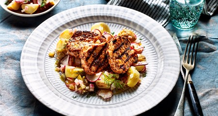 Bavarian Potato Salad with griddled Pork Medallions