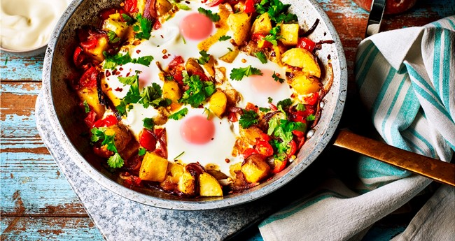 North African spiced baked eggs with potatoes