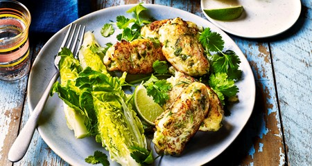 Portugese salt cod fitters with crunchy lime salad