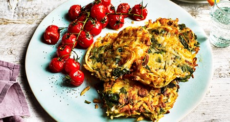 Feta & spinach potato rosti with roasted tomatoes