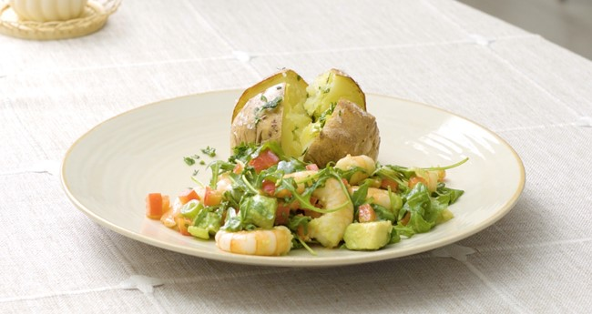 Jacket Potatoes served with Prawn and Avocado Salad