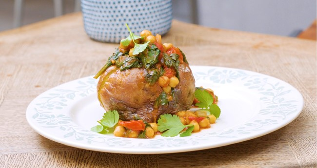 Spicy Chickpeas Filled Jacket Potatoes